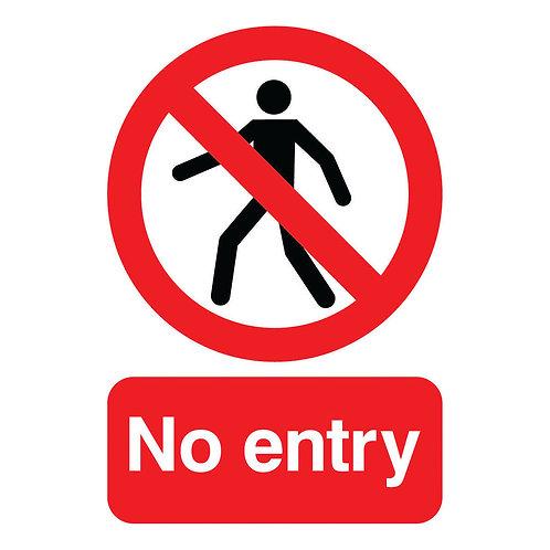 Warning Sign No Entry A5 Self-Adhesive