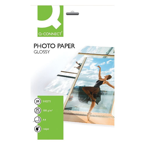 Q-Connect A4 Gloss Photo Paper 180gsm (Pack of 20)