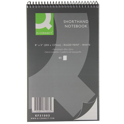 Q-Connect Feint Ruled Shorthand Notebook 160 Pages 203x127mm