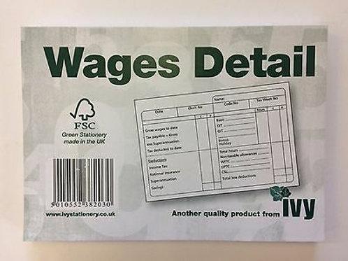 IVY Wage Detail Pad