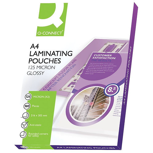 Q-Connect A4 Laminating Pouch 250 Micron (Pack of 100)