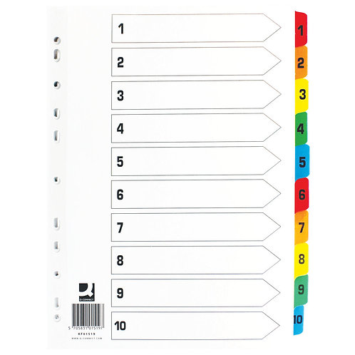 1-10 Index Multi-punched Reinforced Board Multi-Colour Numbered Tabs A4