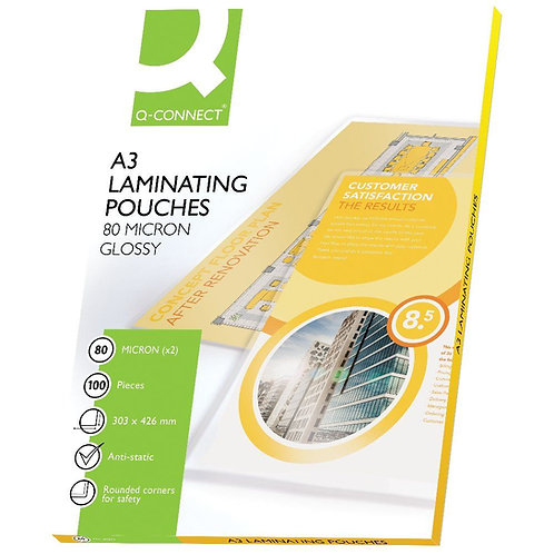 Q-Connect A3 Laminating Pouch 160 Micron (Pack of 100)