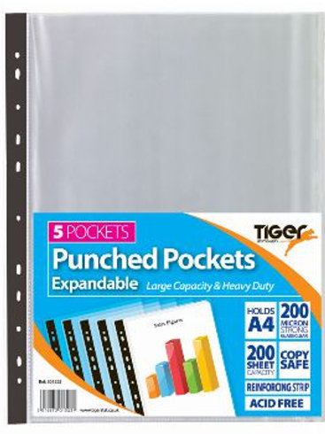 A4 Pack of 5 Expandable Punched Pockets