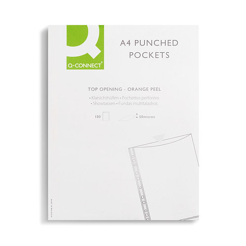 Punched Pockets Polypropylene 50 Micron A4 Clear (Pack of 100)
