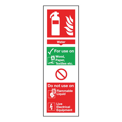 Safety Sign Fire Extinguisher Water 300x100mm Self Adhesive