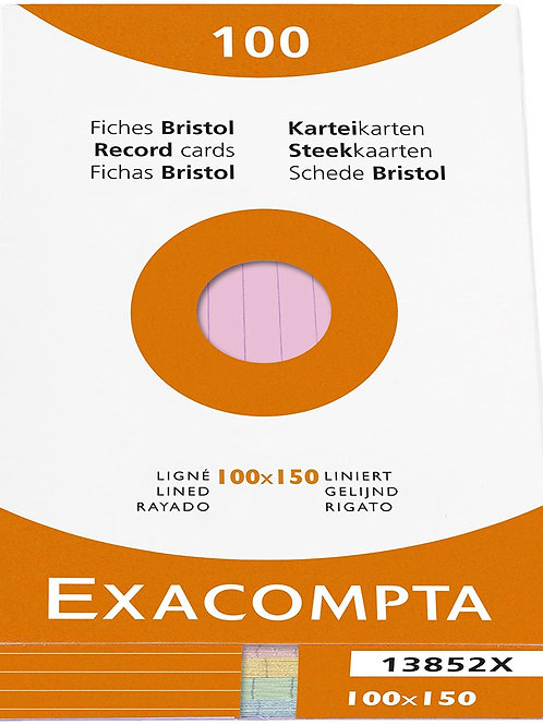 Exacompta Bristol Lined Record Cards, 100x150 mm - Assorted Colours