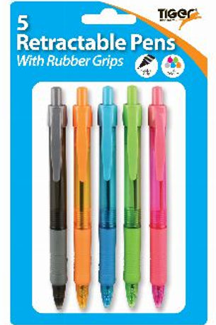 5 Retractable Ballpen Assorted Colours