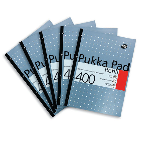 Pukka Pad Ruled Metallic Four-Hole Refill Pad Side Bound 400 Pages A4 (Pack of 5