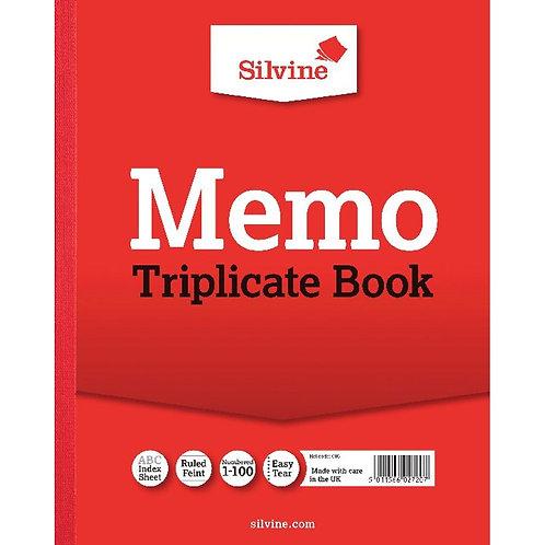 Silvine Triplicate Memo Book 254x203mm