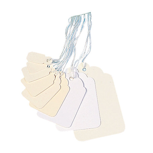 Strung Ticket 21x13mm White (Pack of 1000)