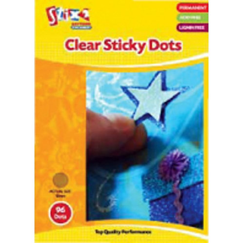 Permanent Clear Sticky Dots Single Pack of 96 Dots 10mm wide