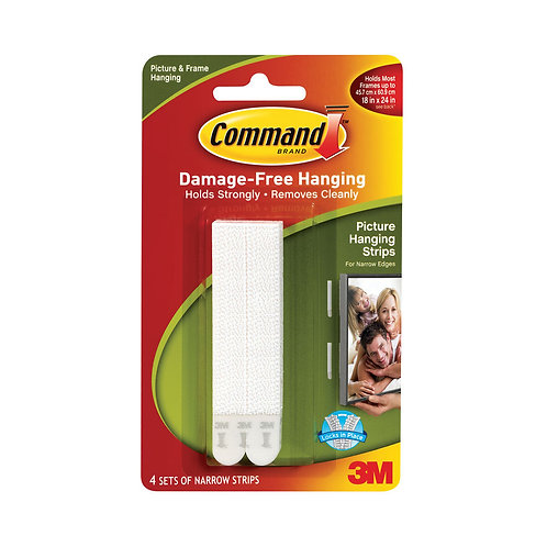 3M Command Narrow Picture Hanging Strips White (Pack of 4)