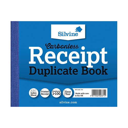 Silvine Carbonless Duplicate Receipt Book 102x127mm