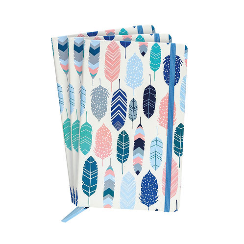 Pukka Feathers Softcover Journal Blue (Pack of 3)