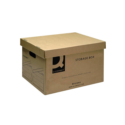 Q-Connect Brown Storage Box 335x400x250mm (Removable lid and cut out handles)