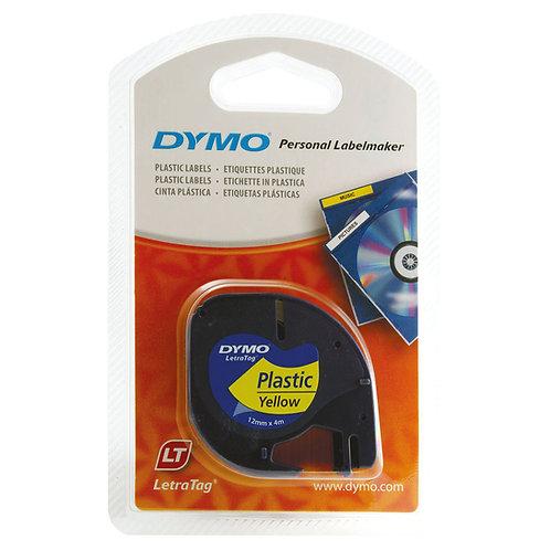 Dymo 91202 LetraTAG Plastic Tape 12mm x 4m Yellow