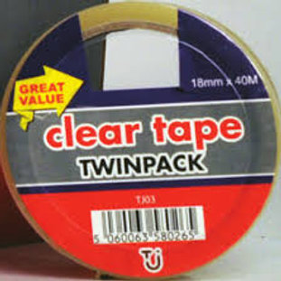Clear Tape Twin Pack 18mm x 40m