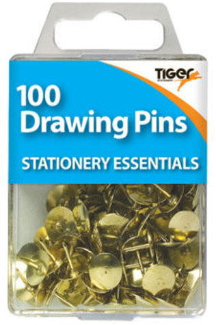 100 Drawing Pins - Brass
