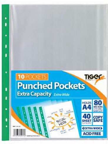 A4 Pack of 10 Extra Capacity Punched Pockets