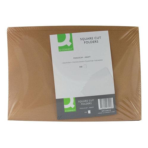 Q-Connect Kraft Square Cut Folder 170gsm Foolscap Buff (Pack of 100)