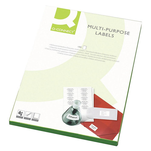 Q-Connect Multipurpose Labels 199.6x289mm 1 Per Sheet White (Pack of 100)