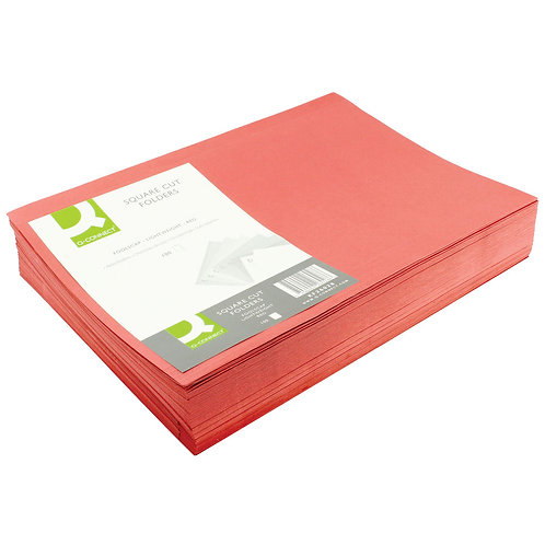 Q-Connect Square Cut Folder Lightweight 180gsm Foolscap Red (Pack of 100)