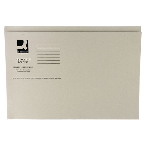 Q-Connect Square Cut Folder Mediumweight 250gsm Foolscap Buff (Pack of 100)