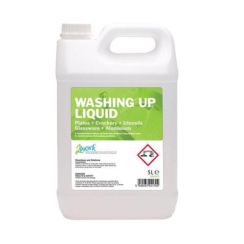 2Work Gentle Washing Up Liquid Fresh Scent 5 Litre Bulk Bottle