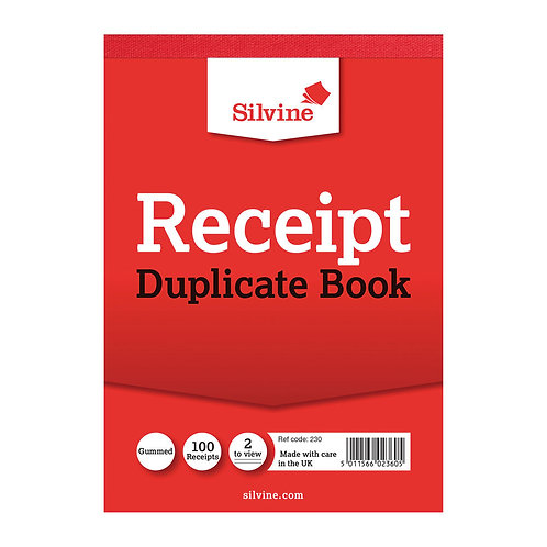 Silvine Duplicate Receipt Book 105x148mm Gummed