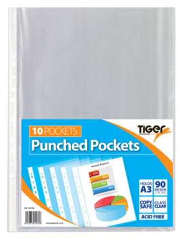 A3 Pk 10 Portrait Punched Pocket