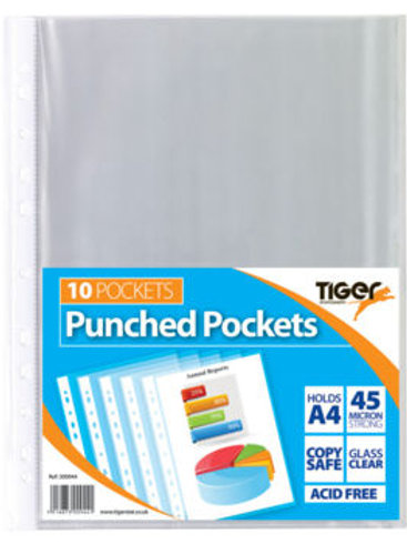 A4 Pack of 10 Punched Pockets