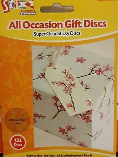 132 Clear Sticky Discs 25mm for Gift Wrapping | Craft Adhesives