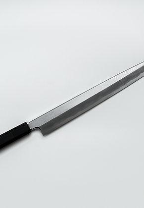 Couteau Yanagi damassé Suminagashi 30cm acier Bleu1