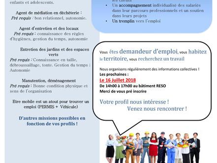 Information collective de Recrutement Lundi 16 Juillet à 14h00 au bâtiment Le RESO à GUICHEN
