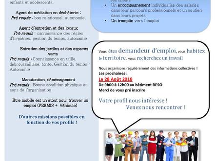 Information collective de Recrutement Mardi 28 Août à 9h00 au bâtiment Le RESO à GUICHEN