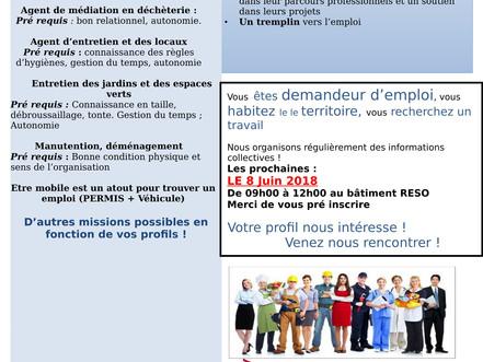 Information collective de Recrutement vendredi 8 Juin à 9h00 au bâtiment Le RESO à GUICHEN