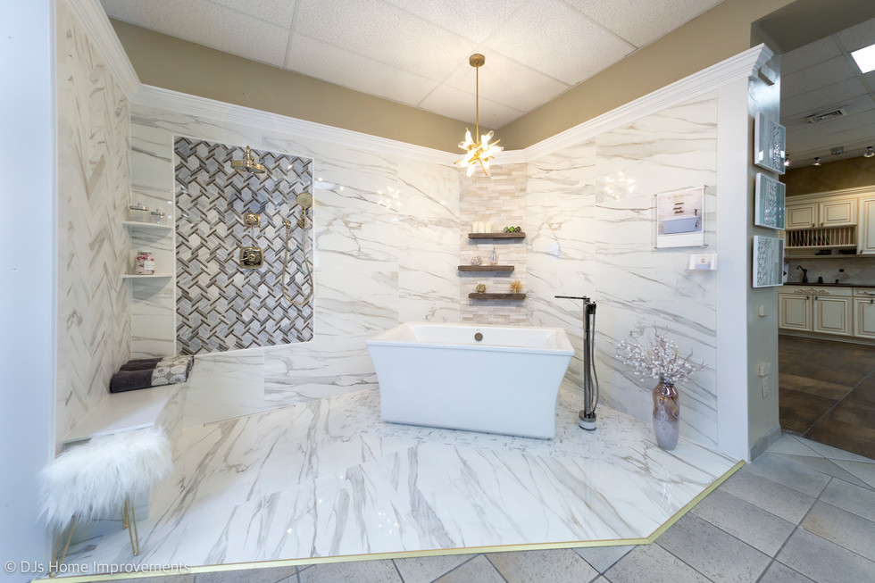 We recently designed this display for Old Country Ceramic Tile in Westbury, Long Island. It features fixtures by  Kohler and tiles from Emil Ceramica.