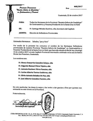 Comunicado Provincial, Elección de Definidores Provinciales