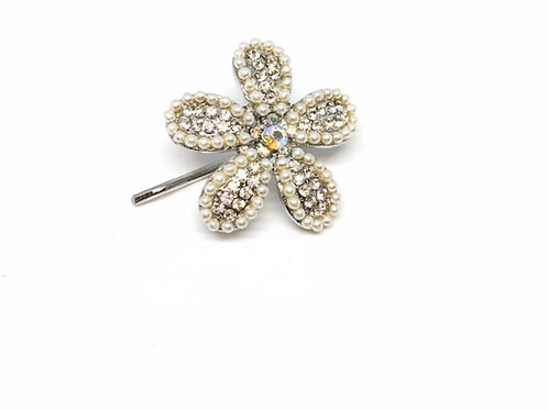 Rhinestones and Pearls Dainty Flower Pin
