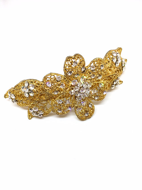 Vintage Inspired Hair Barrette - Gold
