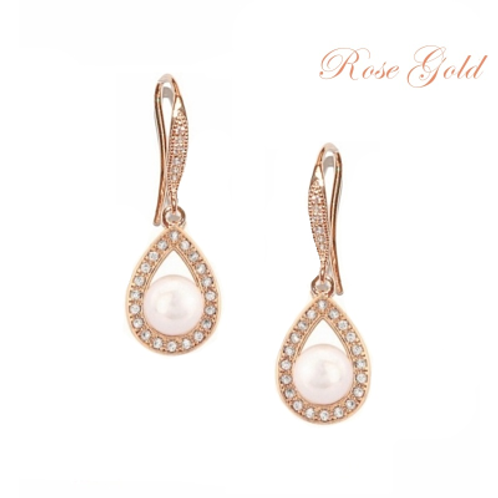 Pearl Earrings - Rose Gold