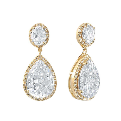 CZ Sheer Elegance Earrings - Gold