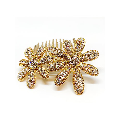 Rhinestone Flower Hair Comb Gold