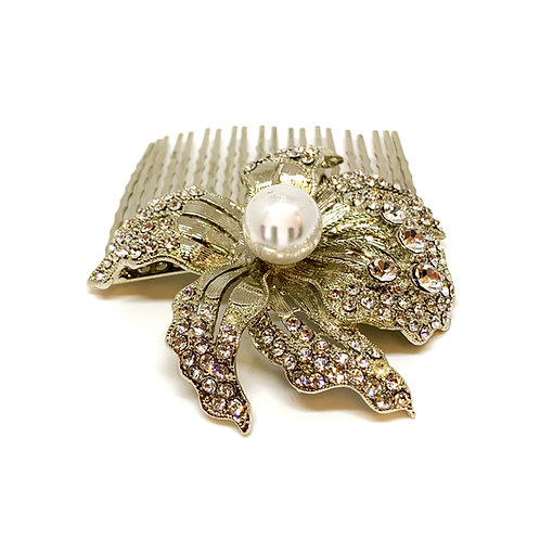 Siliver Pearl/Rhinestones Flower Hair Comb