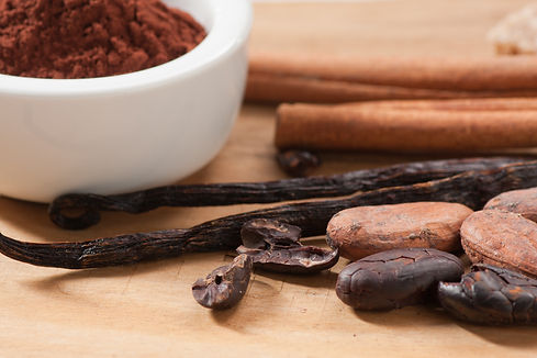 Cocoa drink ingredients. Cocoa beans and