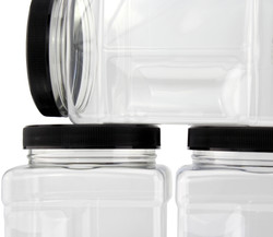 B078SF8L4D - 32-Ounce Square Plastic Jars (4-Pack) 1