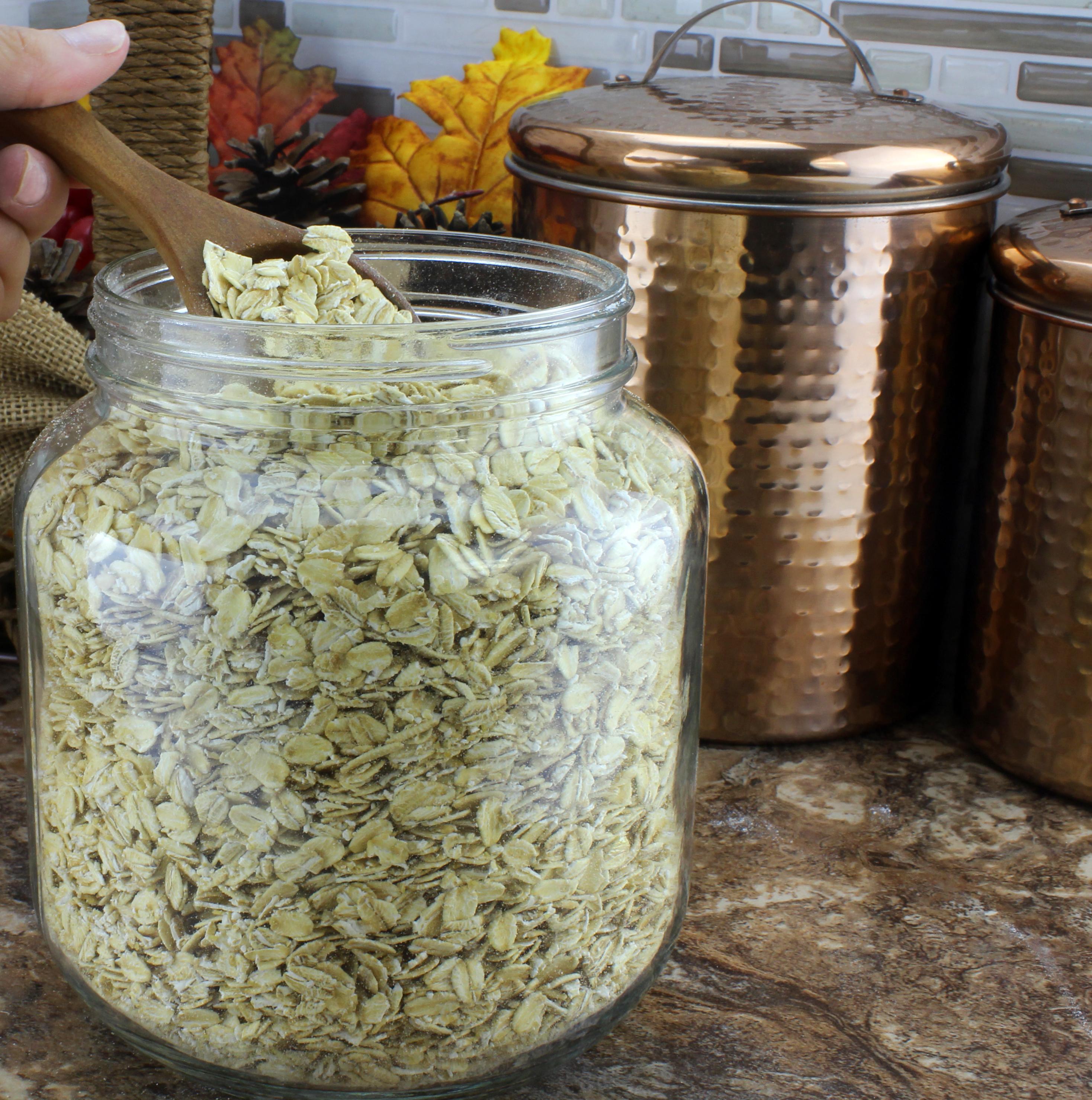 B01FMVSXHS - 64oz Clear Wide-mouth Glass Jar, BPA free Food Grade w White Metal Lid (Half Gallon) 6