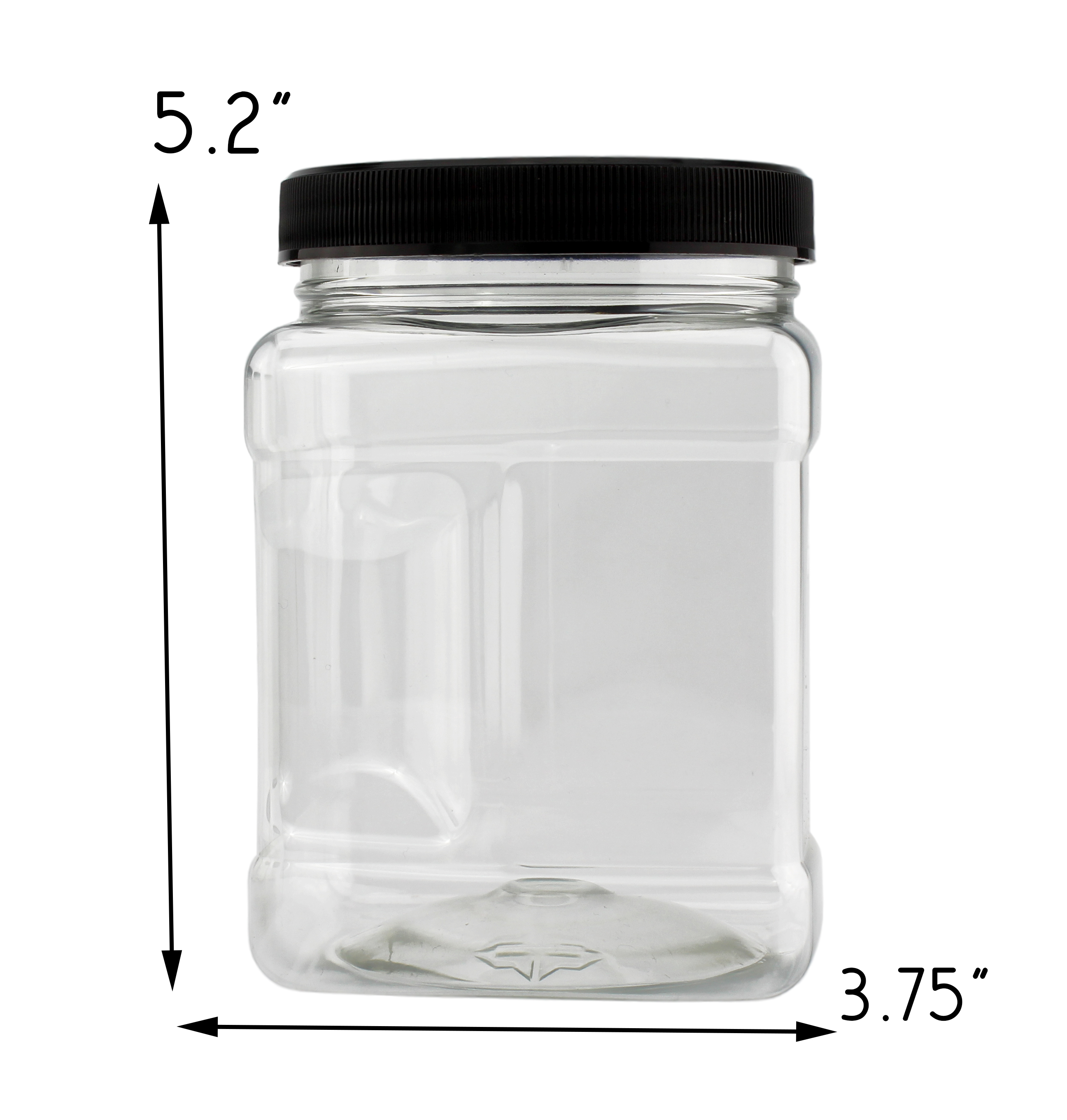 B078SF8L4D - 32-Ounce Square Plastic Jars (4-Pack) 4