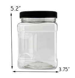B078SF8L4D - 32-Ounce Square Plastic Jars (4-Pack) 4